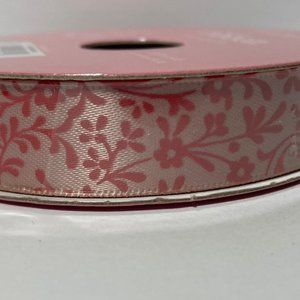 2 Peach Floral Flower Ribbon Polyester